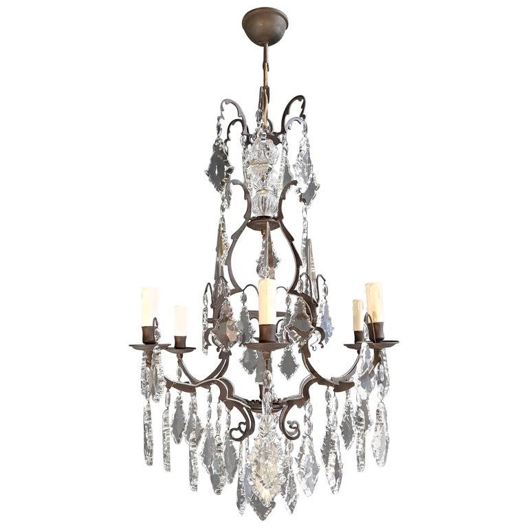 French Crystal Chandelier Antique Ceiling Lamp Lustre Art Nouveau Lamp 1