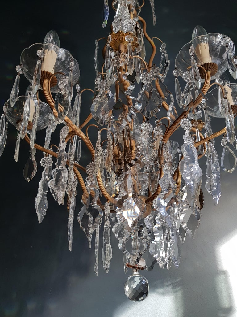 French Crystal Chandelier Antique Ceiling Lamp Lustre Art Nouveau Lamp Rarity  In Good Condition For Sale In Berlin, DE