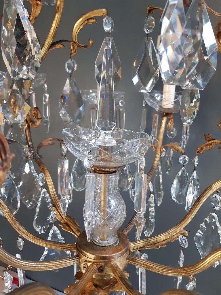 French Crystal Chandelier Antique Ceiling Lamp Lustre Art Nouveau Lamp Rarity 5