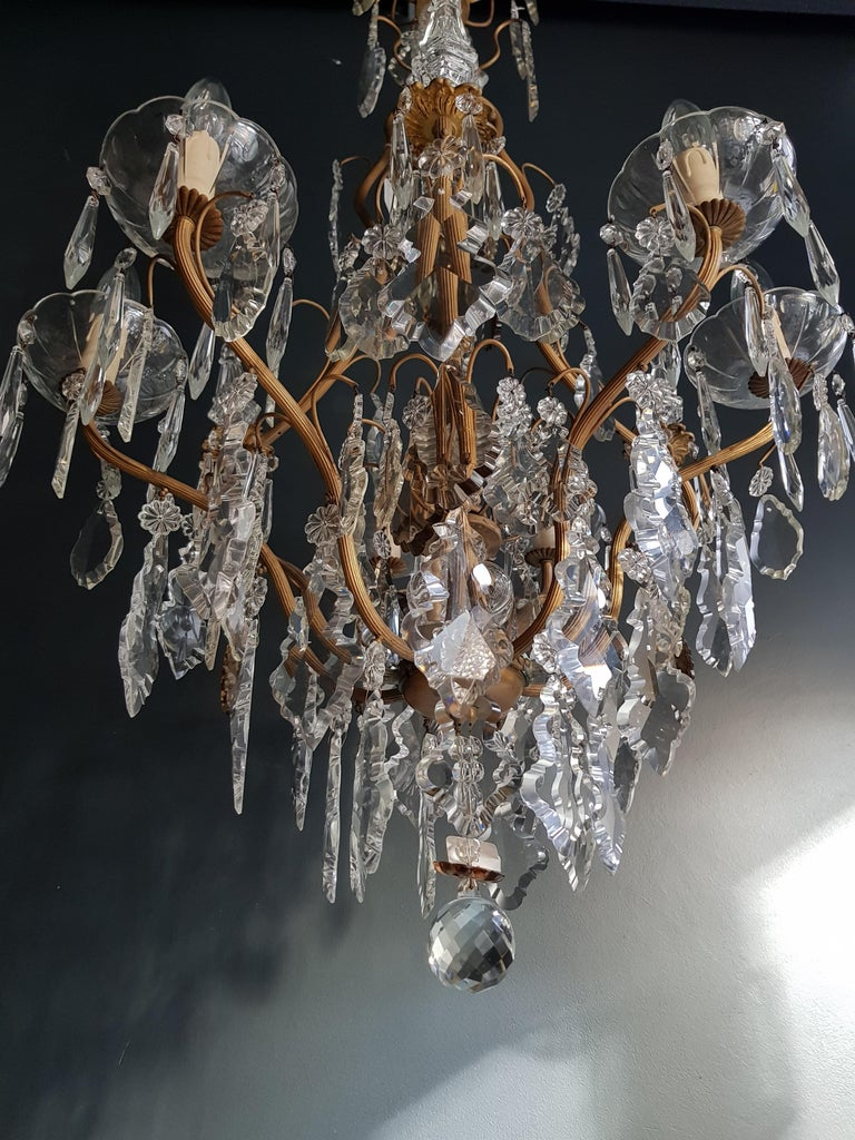French Crystal Chandelier Antique Ceiling Lamp Lustre Art Nouveau Lamp Rarity  For Sale 1