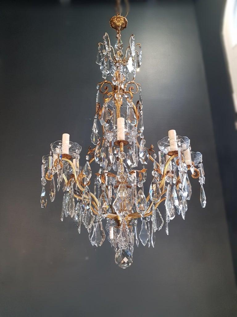 French Crystal Chandelier Antique Ceiling Lamp Lustre Art Nouveau Lamp Rarity 8