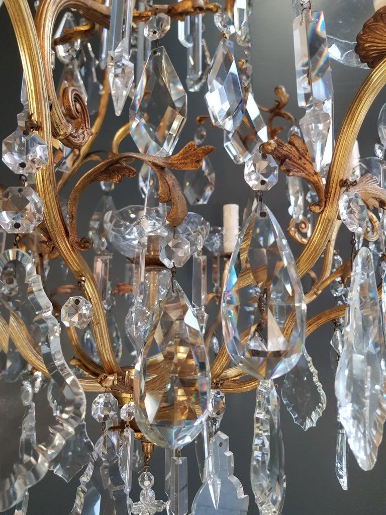 French Crystal Chandelier Antique Ceiling Lamp Lustre Art Nouveau Lamp Rarity 9