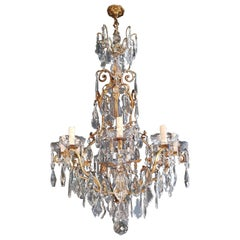 French Crystal Chandelier Antique Ceiling Lamp Lustre Art Nouveau Lamp Rarity