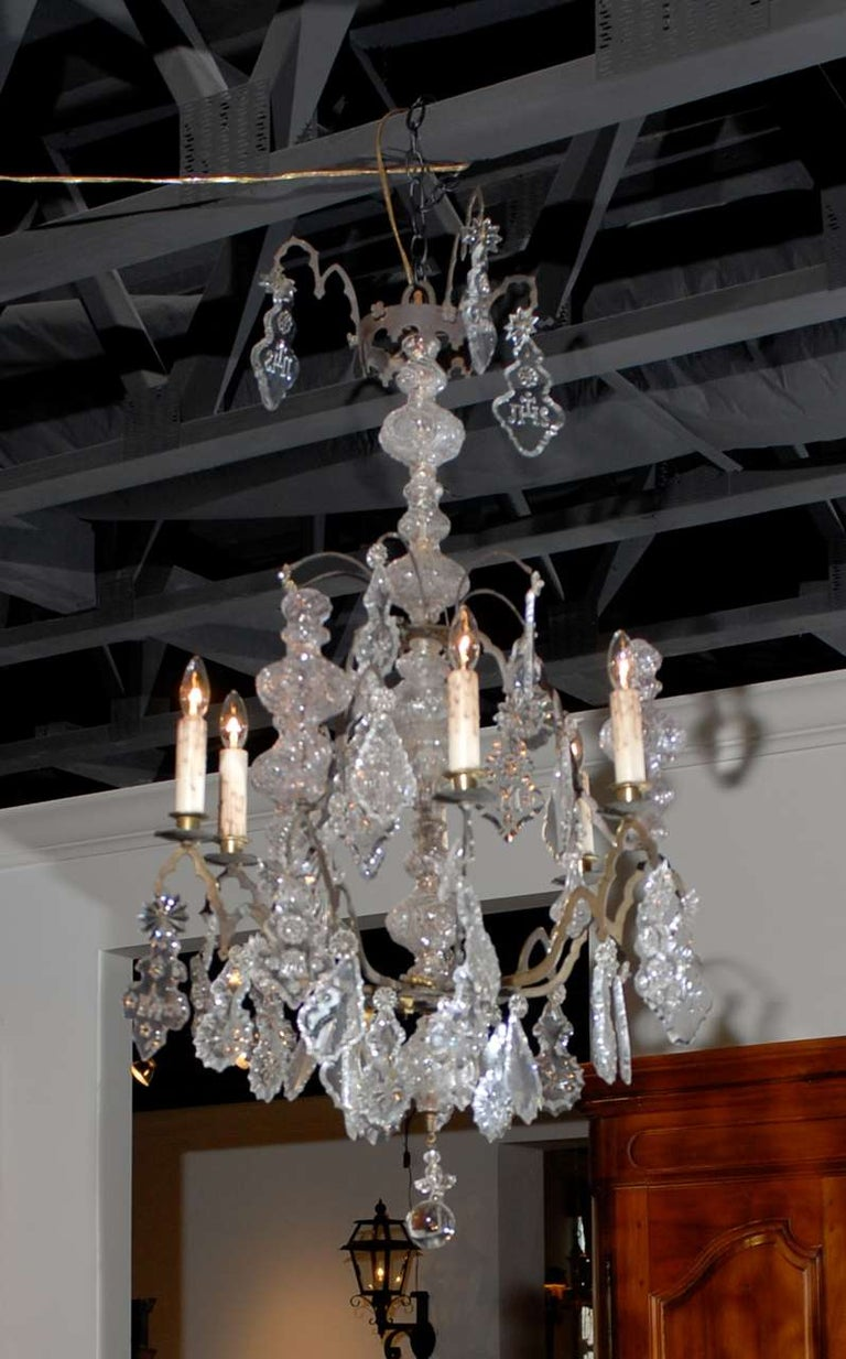 French Baroque Revival Six-Light Crystal Chandelier from a Church, circa 1860 For Sale 4