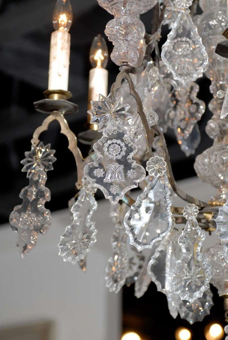 Patinated French Baroque Revival Six-Light Crystal Chandelier from a Church, circa 1860 For Sale
