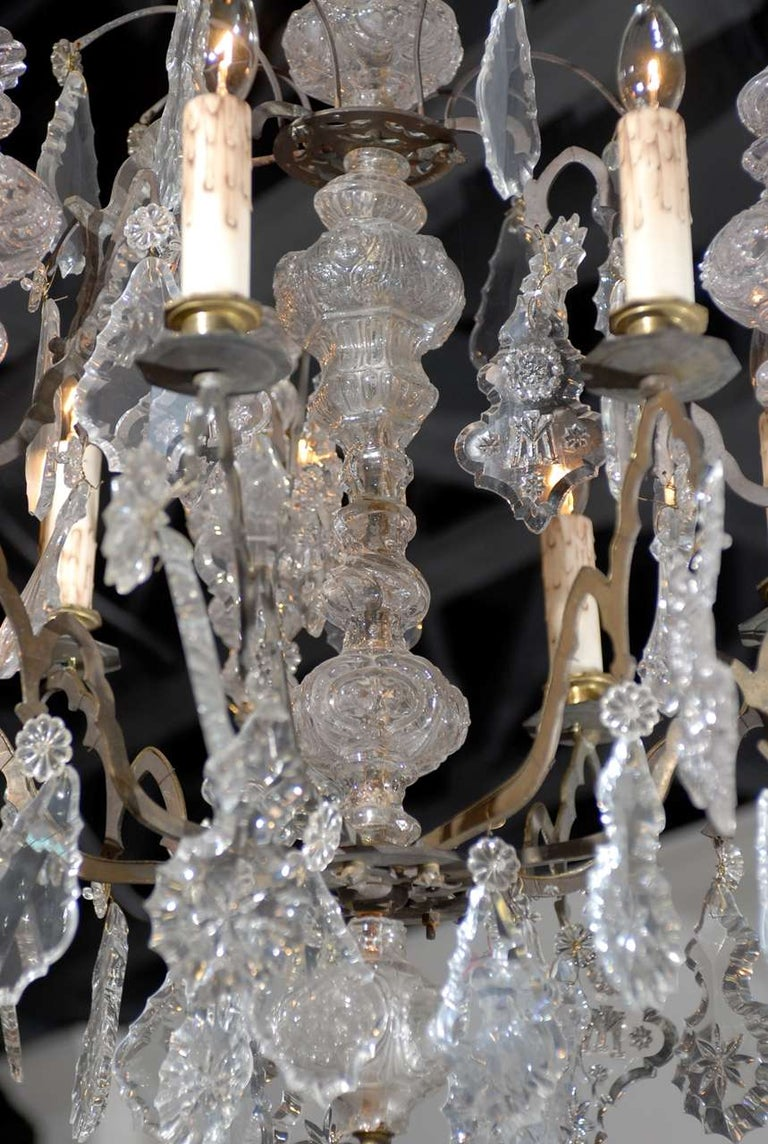 French Baroque Revival Six-Light Crystal Chandelier from a Church, circa 1860 In Good Condition For Sale In Atlanta, GA