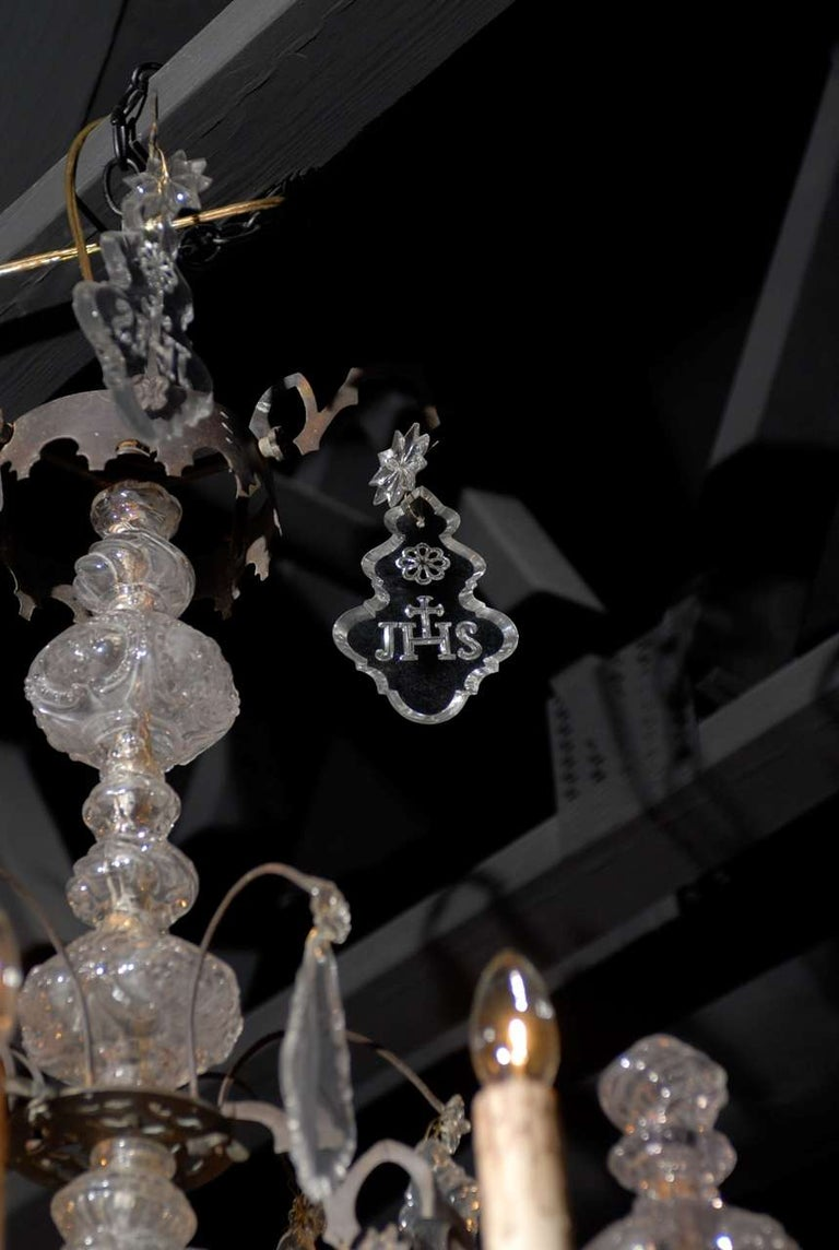 19th Century French Baroque Revival Six-Light Crystal Chandelier from a Church, circa 1860 For Sale