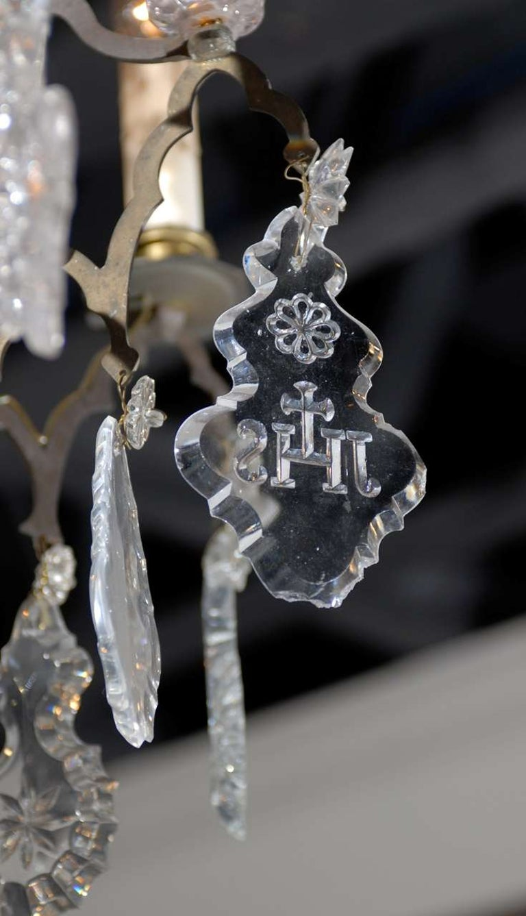 Bronze French Baroque Revival Six-Light Crystal Chandelier from a Church, circa 1860 For Sale