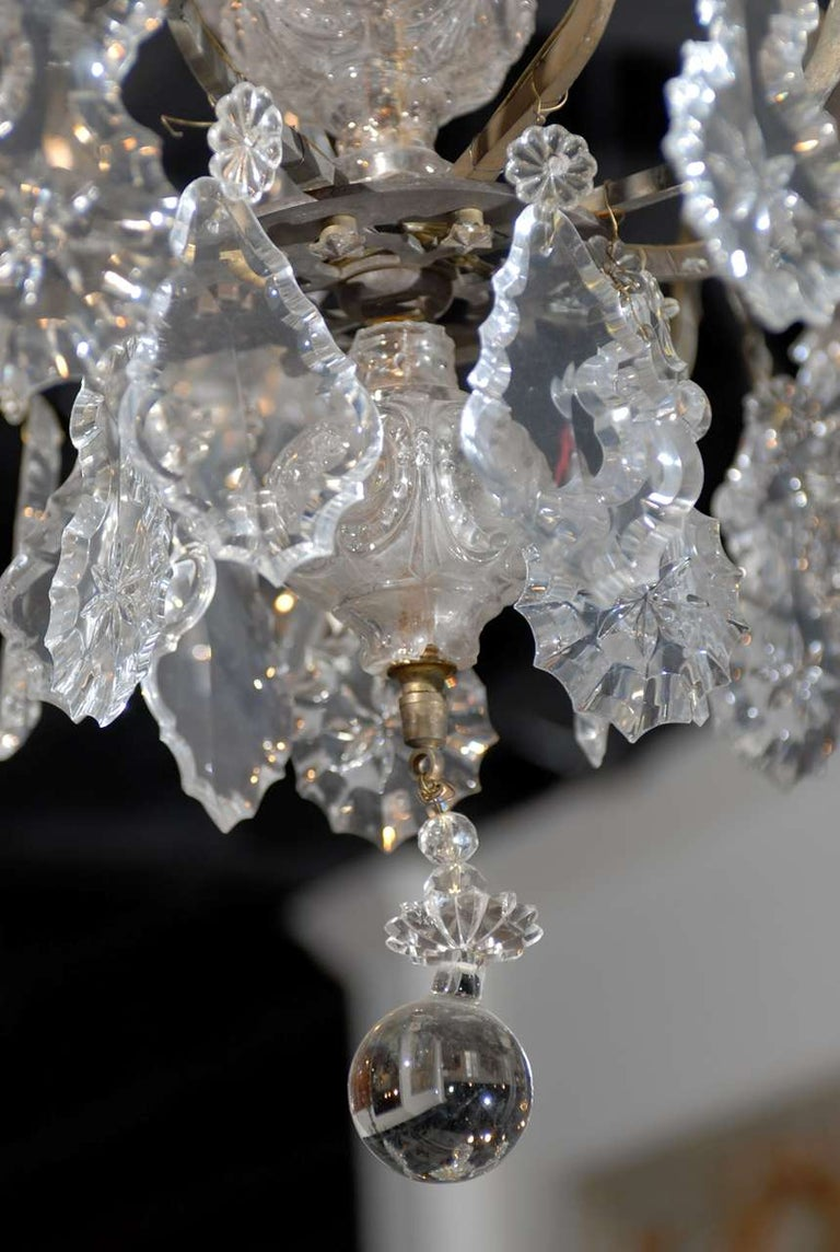 French Baroque Revival Six-Light Crystal Chandelier from a Church, circa 1860 For Sale 1
