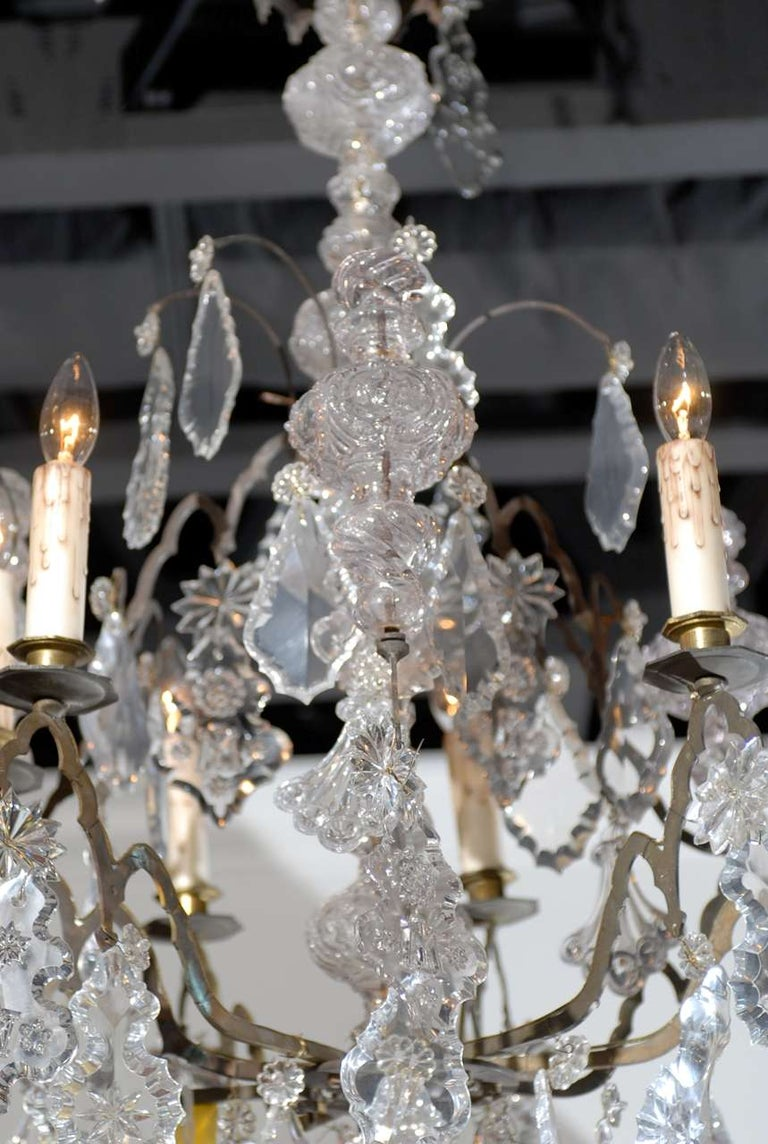 French Baroque Revival Six-Light Crystal Chandelier from a Church, circa 1860 For Sale 3