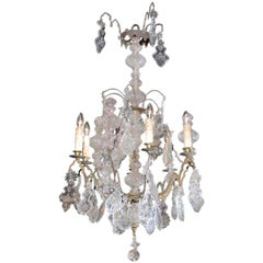 French Baroque Revival Six-Light Crystal Chandelier from a Church, circa 1860
