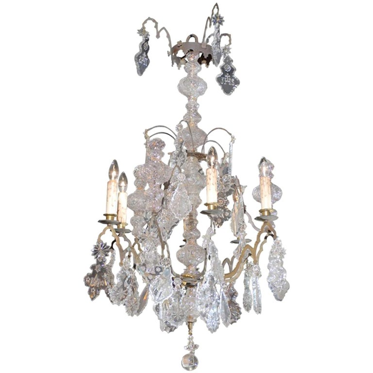 French Baroque Revival Six-Light Crystal Chandelier from a Church, circa 1860 For Sale