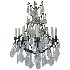 French Crystal Chandelier with Pedeloque Drops, circa 1940s