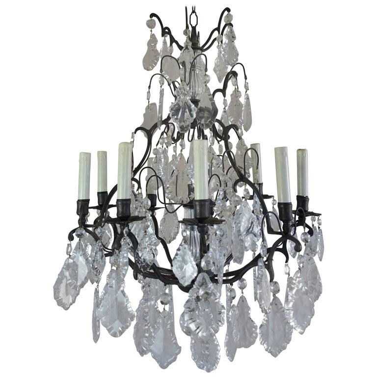 French Crystal Chandelier with Pedeloque Drops, circa 1940s For Sale