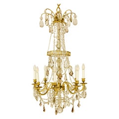 French Crystal-Cut and Gilt Bronze Louis XVI Chandelier Attr. to Maison Baguès