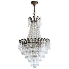 French Crystal Waterfall Chandelier Bronze Mounted