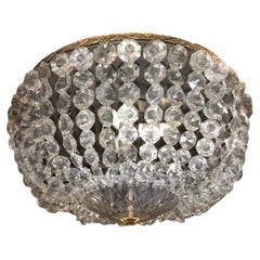 French Crystal Flush Mounted Light Fixture