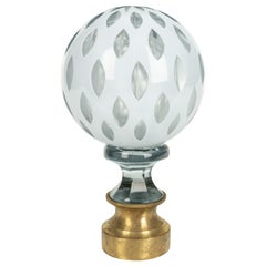 French Crystal Glass Boule d'escalier or Newel Post Finial