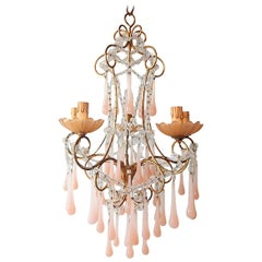 French Crystal Pink Bubble Gum Opaline Drops Bobeches and Beads Chandelier