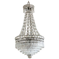 French Crystal Six-Tier Waterfall Chandelier, circa 1910-1920
