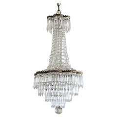 French Crystal Waterfall Chandelier Bronze Mounted, circa 1920-1929
