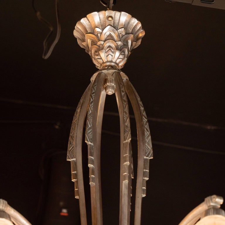 French Cubist Art Deco Nickeled Bronze and Frosted Glass Chandelier by Maynadier For Sale 1