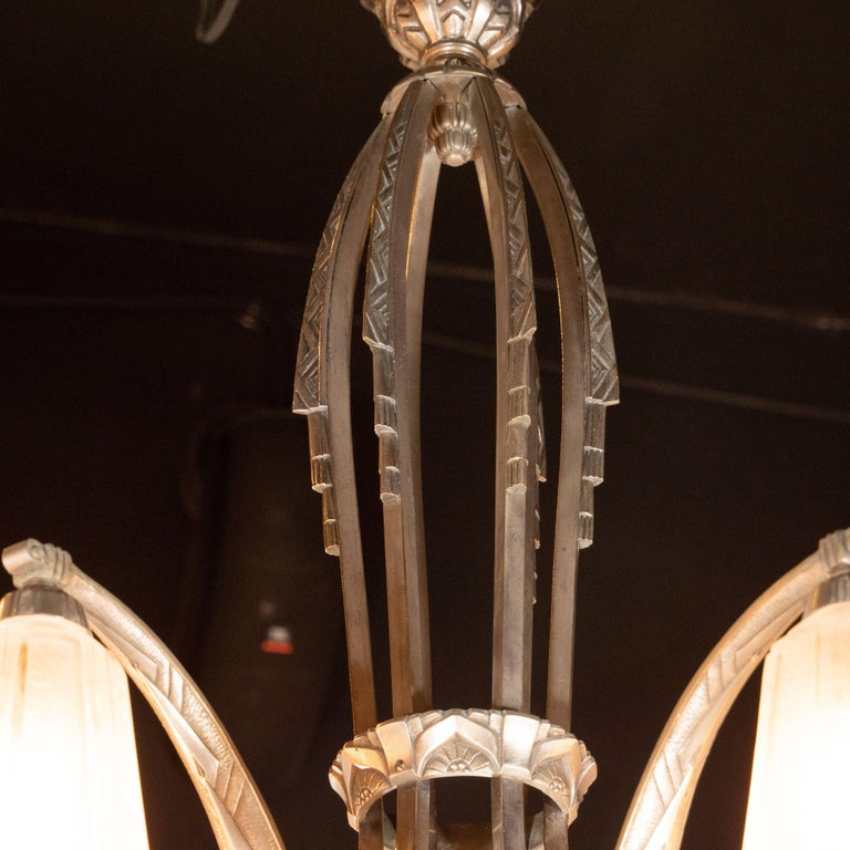 French Cubist Art Deco Nickeled Bronze and Frosted Glass Chandelier by Maynadier For Sale 2