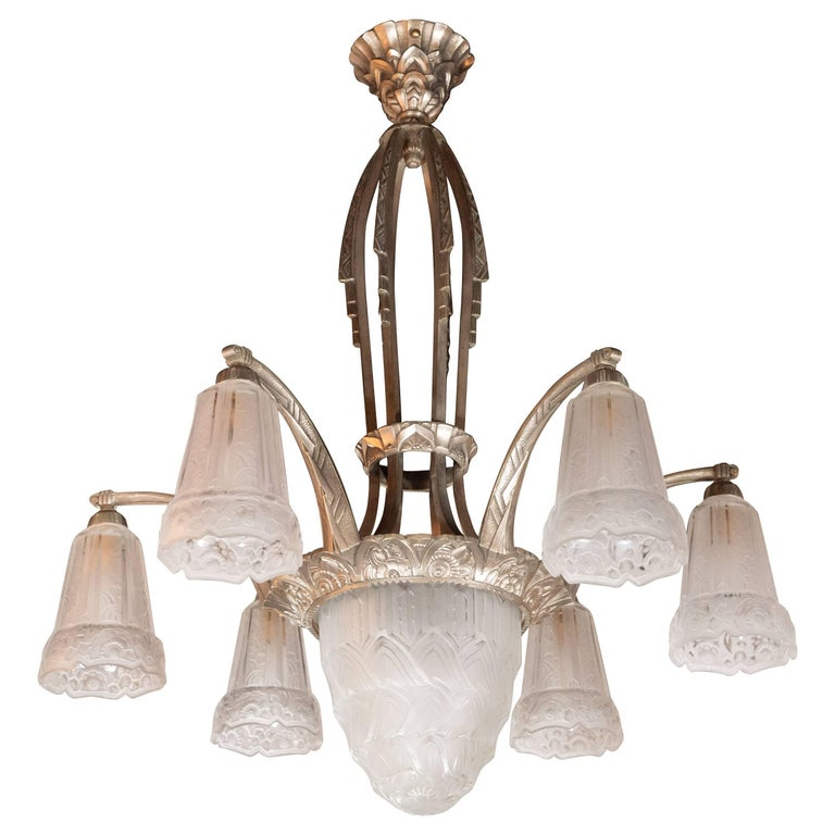 French Cubist Art Deco Nickeled Bronze and Frosted Glass Chandelier by Maynadier