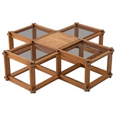 French Cubist Coffee Table in Elm
