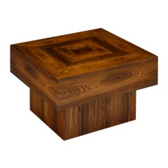 French Cubist Wood Side Table