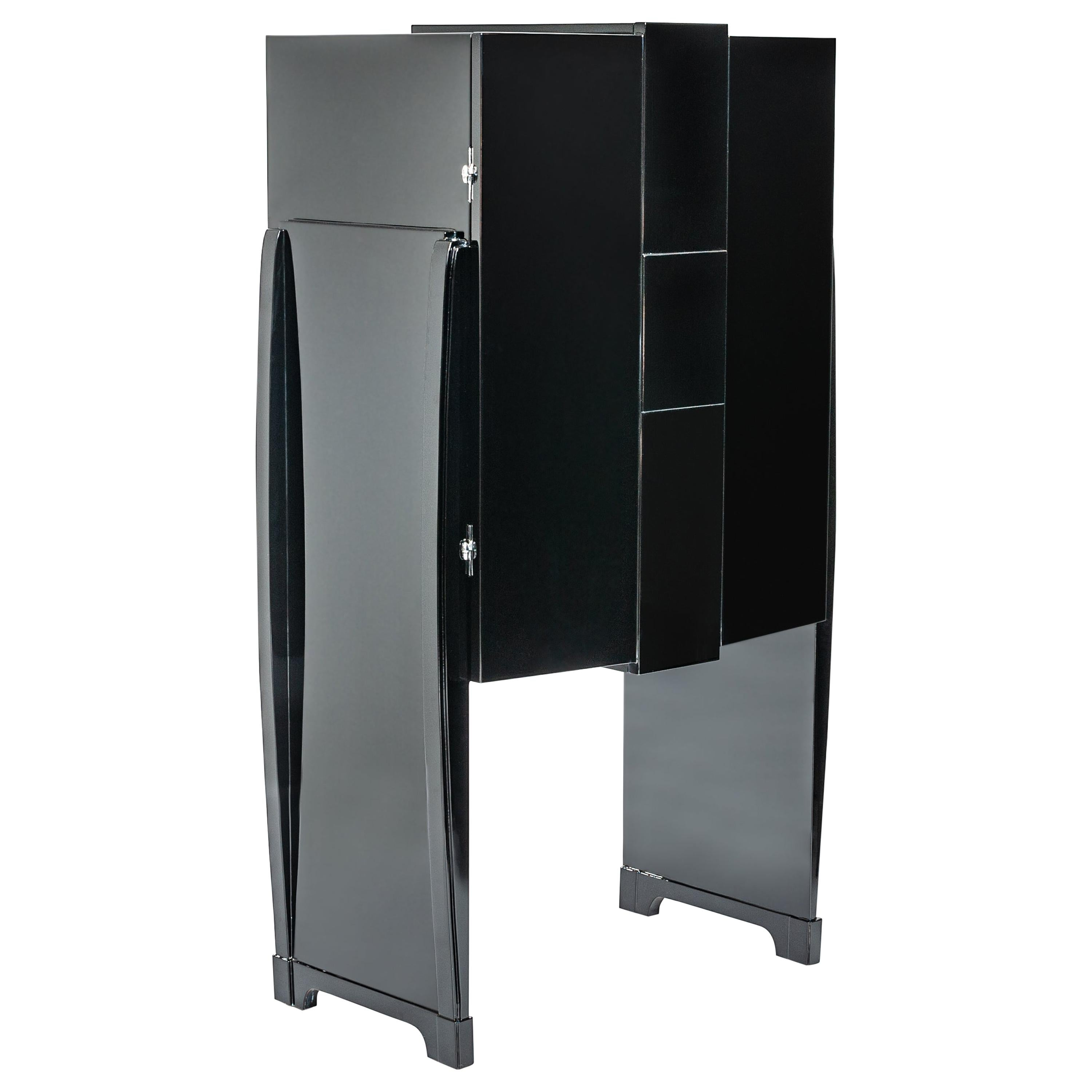 French Cubistic Art Deco Bar Cabinet High-Gloss Finish Black from the 1930s