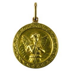 French Cupid and Lovebirds 18k Yellow Gold Charm Pendant