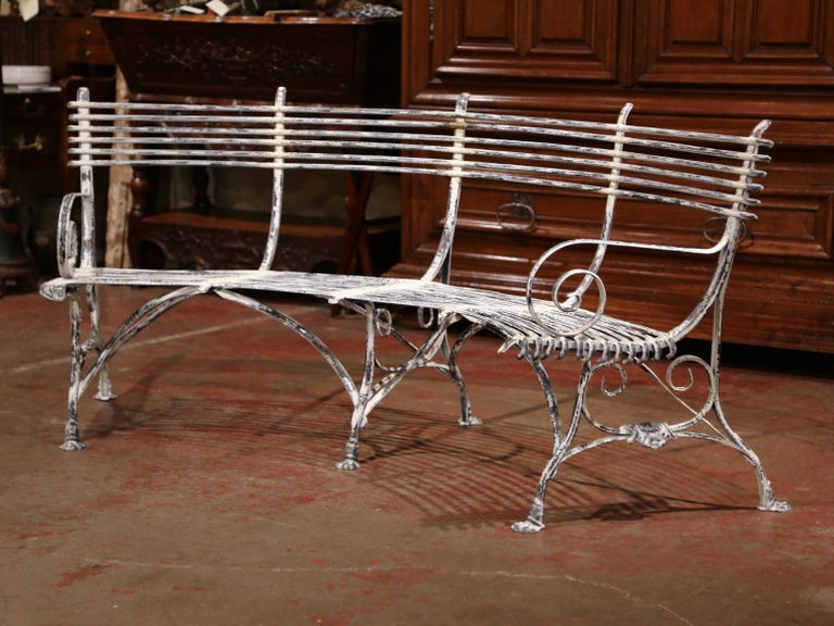 Fantastic French Curved And Painted Iron Bench With Paw Feet Signed Pabps2019 Chair Design Images Pabps2019Com
