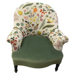 French Curved Armchair with Floral Fabric