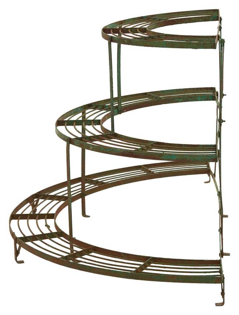 Painted French Curved Green Iron Plant Stand For Sale