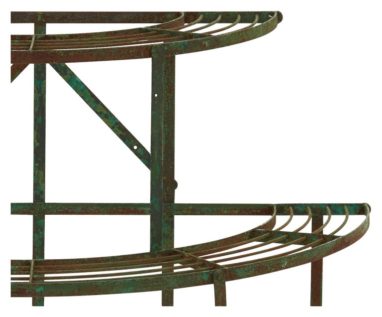 20th Century French Curved Green Iron Plant Stand For Sale
