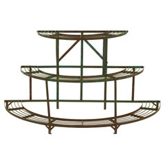 French Curved Green Iron Plant Stand