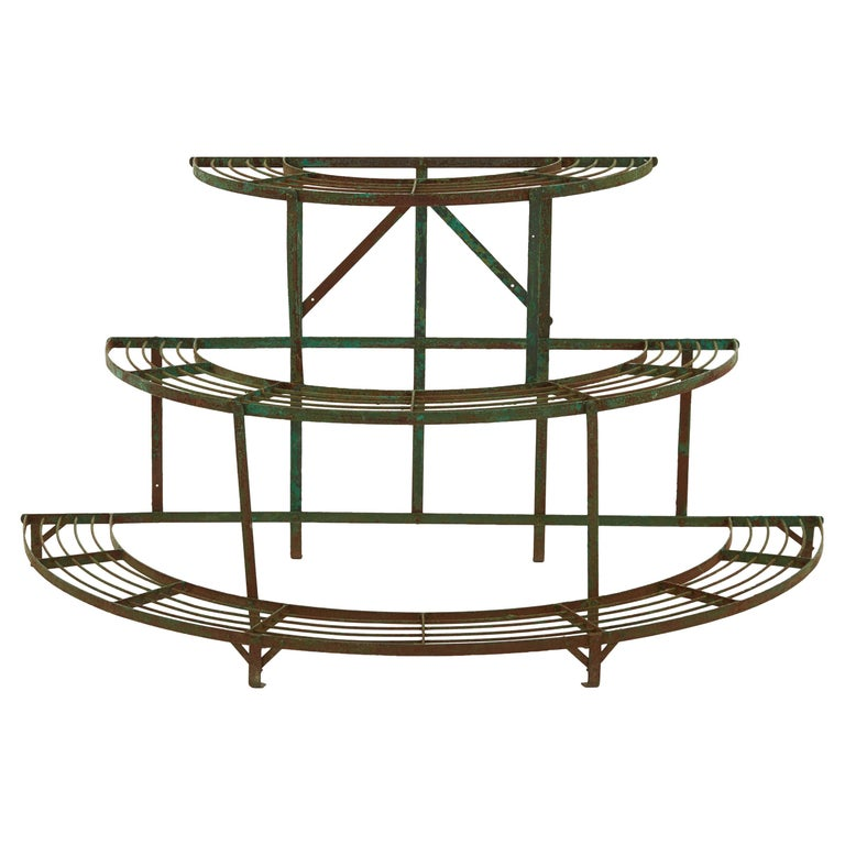 French Curved Green Iron Plant Stand For Sale