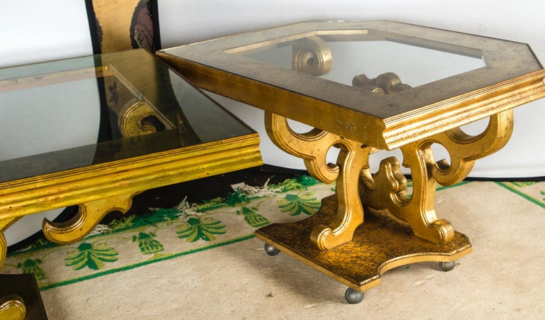 French Custom Made Gilt Carved Wood Dining Table For Sale 6