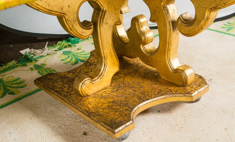 French Custom Made Gilt Carved Wood Dining Table For Sale 3