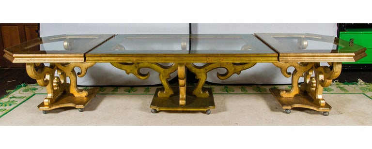 French Custom Made Gilt Carved Wood Dining Table For Sale 5