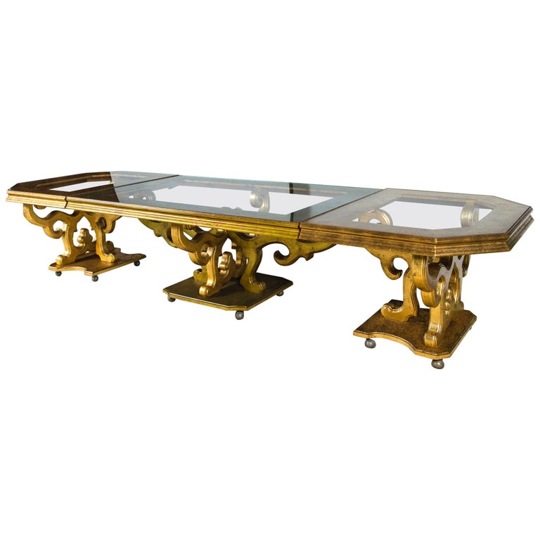 French Custom Made Gilt Carved Wood Dining Table For Sale
