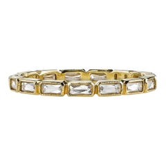 French Cut 18 Karat Gold Eternity Band