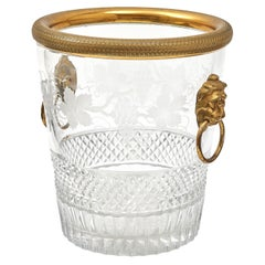 French Cut Crystal Champagne Bucket with Bronze Mounts and Handles, circa 1900
