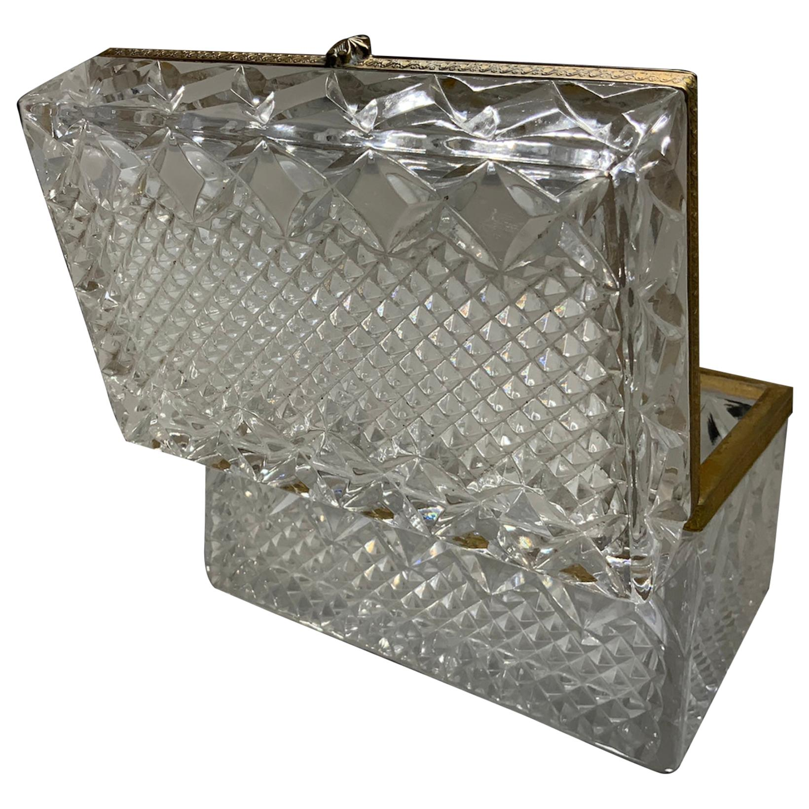 French Cut Crystal Dresser Table Jewelry Box