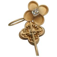 French-Cut Diamond and 18 Karat Gold Renaissance Revival 'Fleur de Lys' Earrings