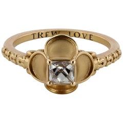 French-Cut Diamond and 18 Karat Gold Renaissance Revival Ring