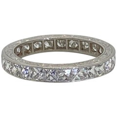 French Cut Diamond and Platinum Eternity Band Ring