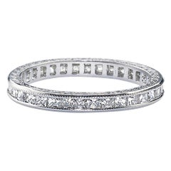 French Cut Diamond and Platinum Eternity Ring