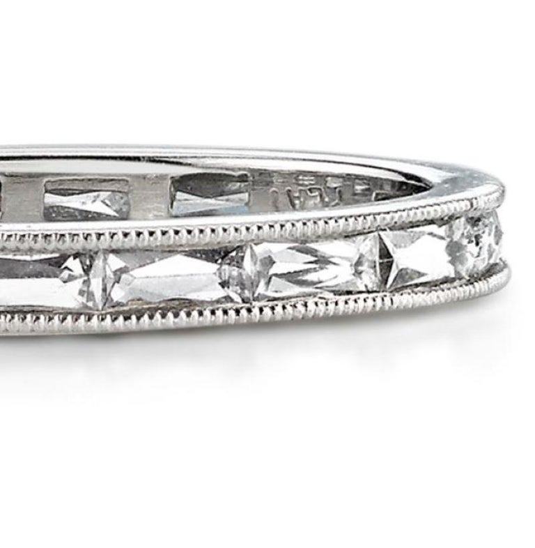 Approx. 0.90 Carat French Cut Diamonds Set in a Platinum Eternity Band In New Condition For Sale In Los Angeles, CA